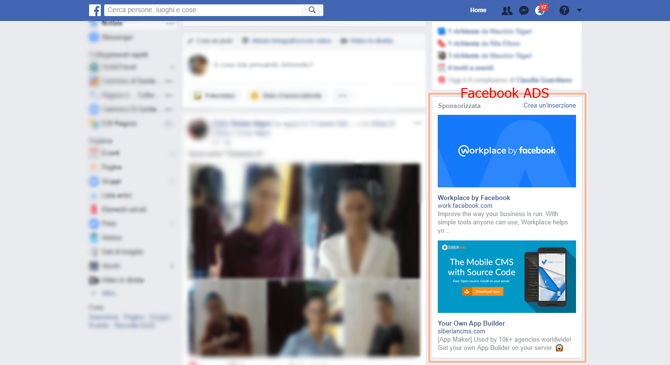 esempio di facebook ads
